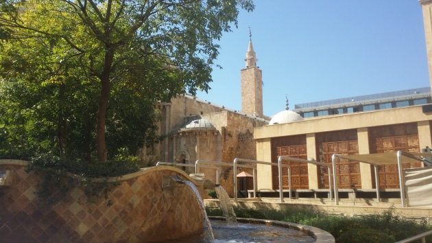 Old mosque, new mosque. And right next to this garden...lots of military guys holding serious looking automatic weapons.